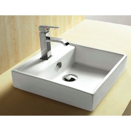 Bathroom Sink, Caracalla CA4148A-One Hole, Square White Ceramic Drop In Bathroom Sink