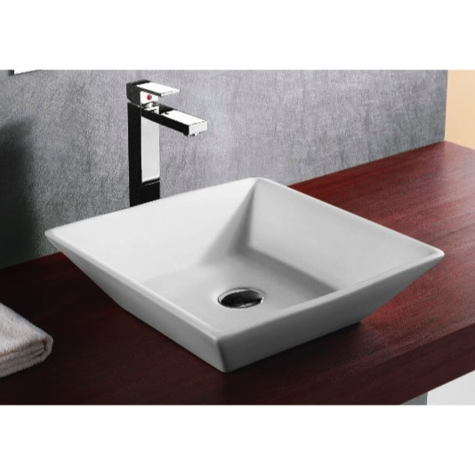 Bathroom Sink, Caracalla CA4256-No Hole, Square White Ceramic Vessel Bathroom Sink