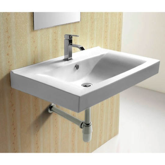 Bathroom Sink, Caracalla CA4270B, Rectangular White Ceramic Wall ...