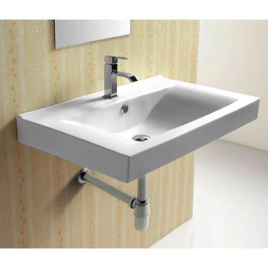 bathroom sink caracalla ca4270b rectangular white ceramic wall mounted bathroom sink - Wall Mounted Bathroom Sink