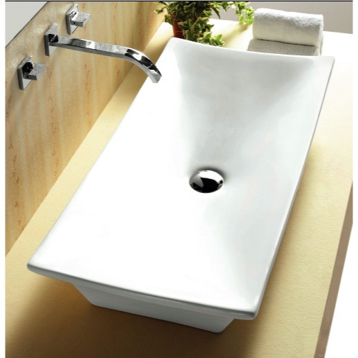 Bathroom Sink, Caracalla CA4277, Rectangular White Ceramic Vessel Bathroom  Sink