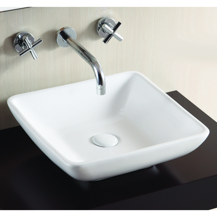 Bathroom Sink, Caracalla CA4322-No Hole, Square White Ceramic Vessel Bathroom Sink