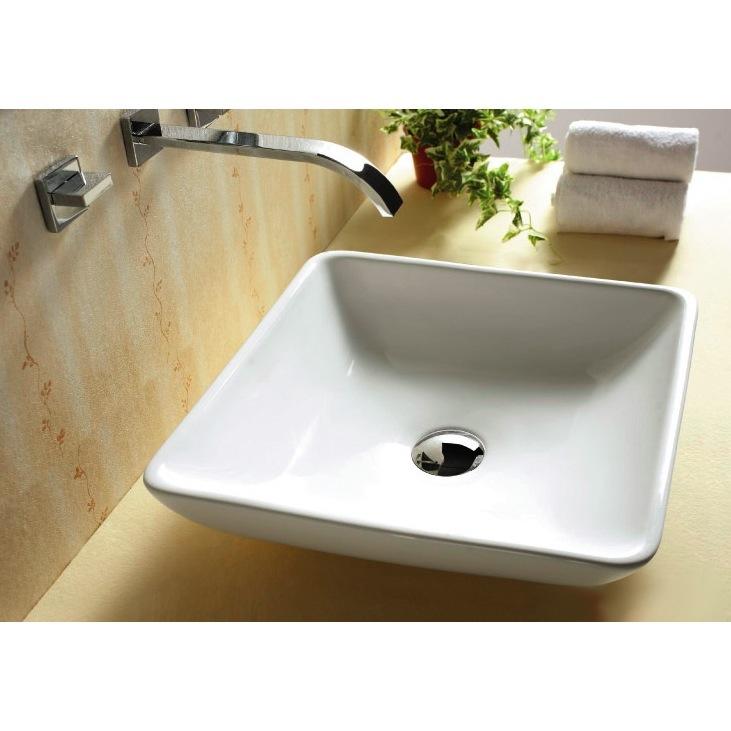 Square White Vessel Sink : ... Sink, Caracalla CA4322, Square White Ceramic Vessel Bathroom Sink