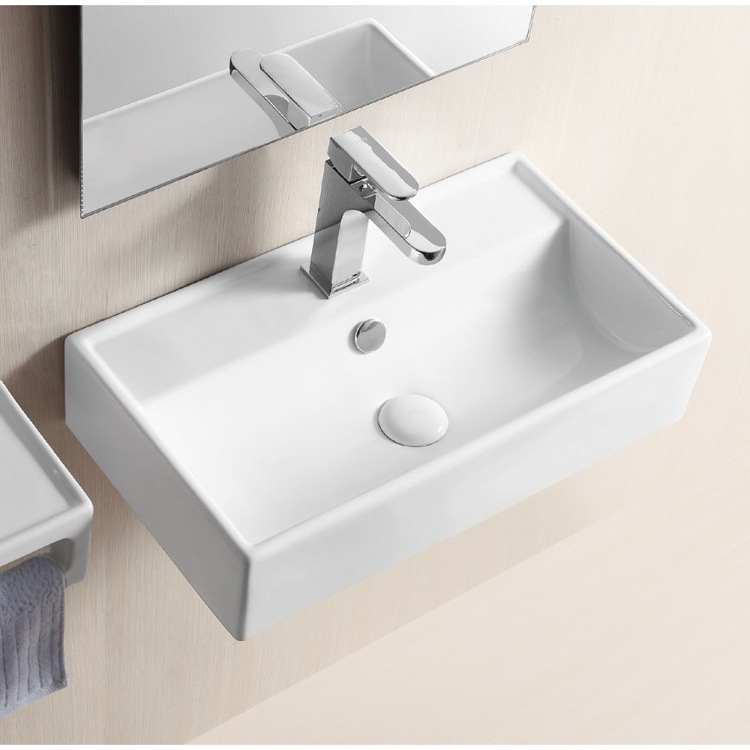 Bathroom Sink, Caracalla CA4335, Rectangular White Ceramic Wall ...