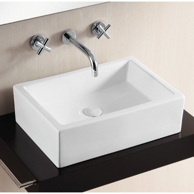 Bathroom Sink, Caracalla CA4532-No Hole, Rectangular White Ceramic Vessel Bathroom Sink