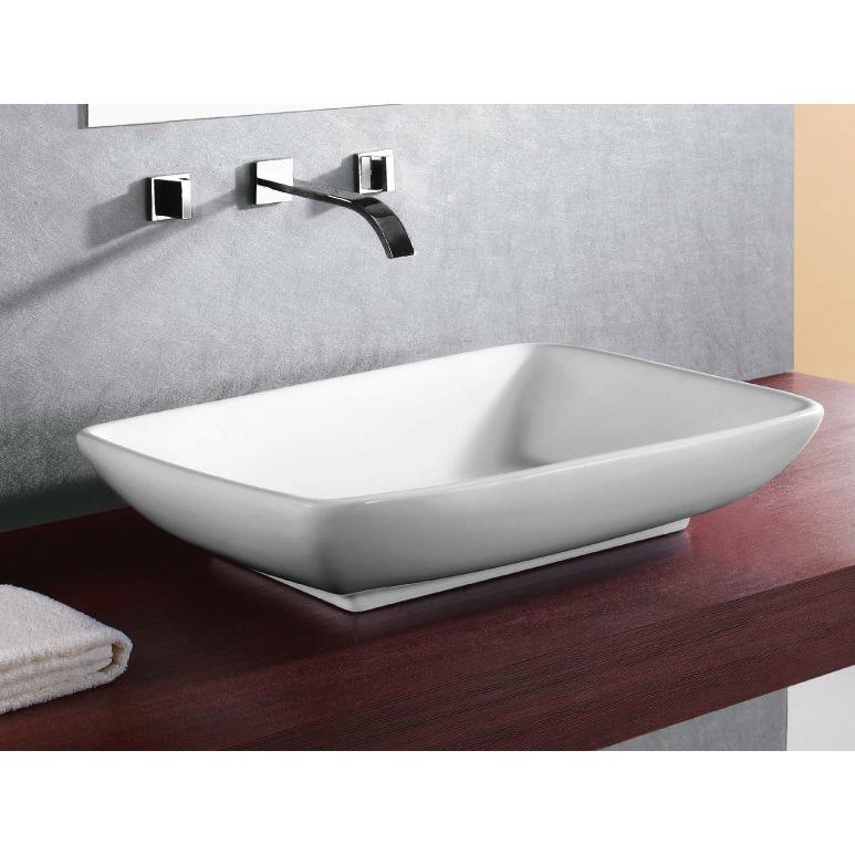 Bathroom Sink, Caracalla CA4938-No Hole, Rectangular White Ceramic Vessel Bathroom Sink