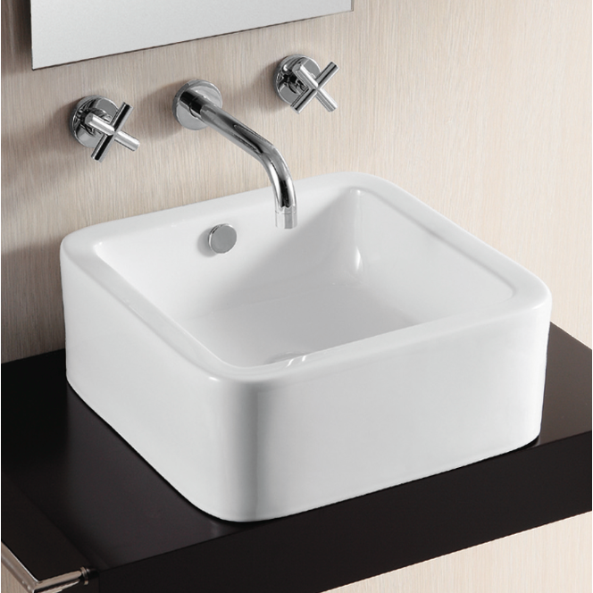 Bathroom Sink, Caracalla CA4941-No Hole, Square White Ceramic Vessel Bathroom Sink