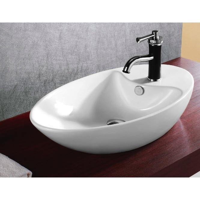 Bathroom Sink, Caracalla CA4943, Oval White Ceramic Vessel Bathroom Sink