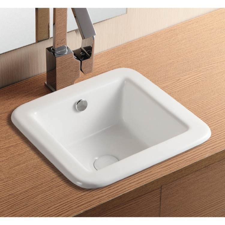Bathroom Sink, Caracalla CA4980-No Hole, Square White Ceramic Drop In Bathroom Sink