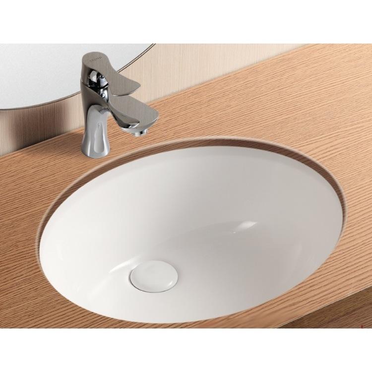 Bathroom Sink, Caracalla CA908 16, Oval White Ceramic Undermount Bathroom  Sink