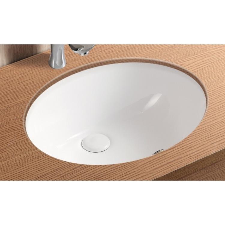 Sink, Caracalla CA908-18, Oval White Ceramic Undermount Bathroom Sink ...