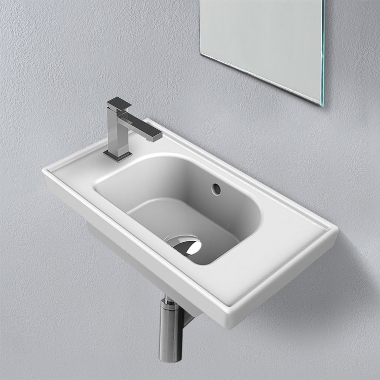 Bathroom Sink, CeraStyle 001800-U-One Hole, Rectangle White Ceramic Wall Mounted or Drop In Sink