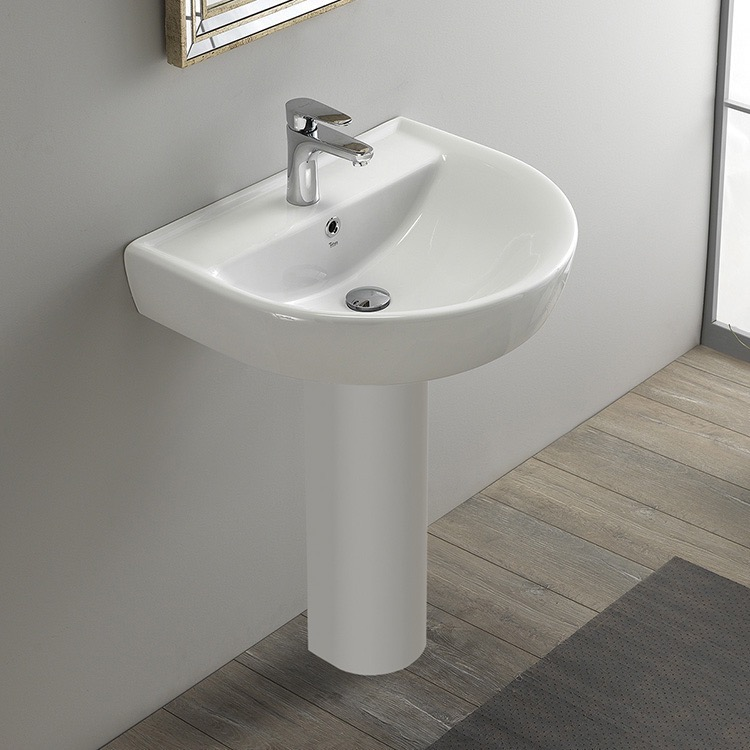 Bathroom Sink, CeraStyle 003100U PED, Round White Ceramic Pedestal Sink