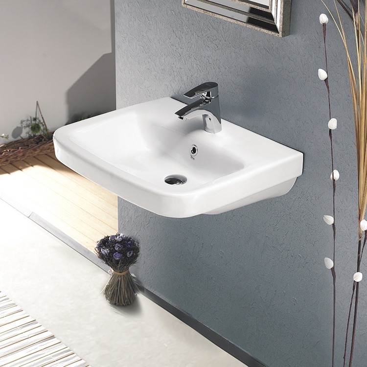 Bathroom Sink, CeraStyle 007700-U-One Hole, Rectangular White Ceramic Wall Mounted or Drop In Sink
