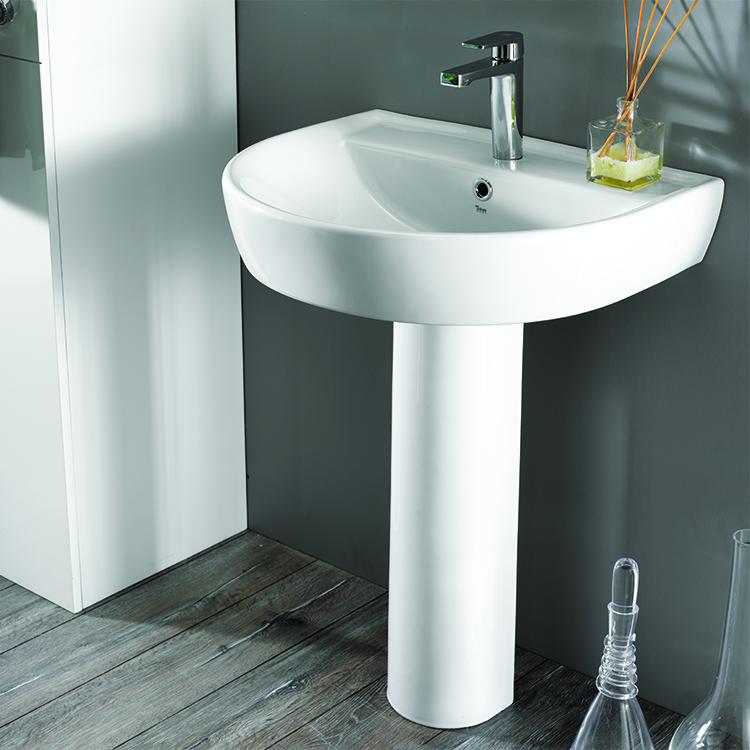 Bathroom Sink, CeraStyle 007800U PED, Round White Ceramic Pedestal Sink