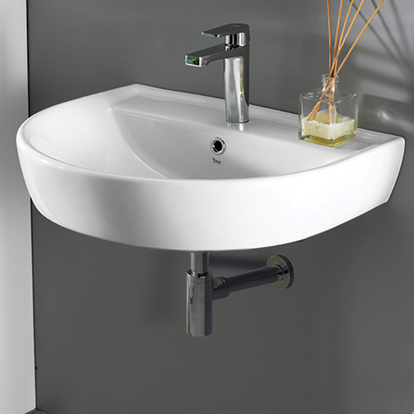 Bathroom Sink, CeraStyle 007800-U-One Hole, Round White Ceramic Wall Mounted Sink