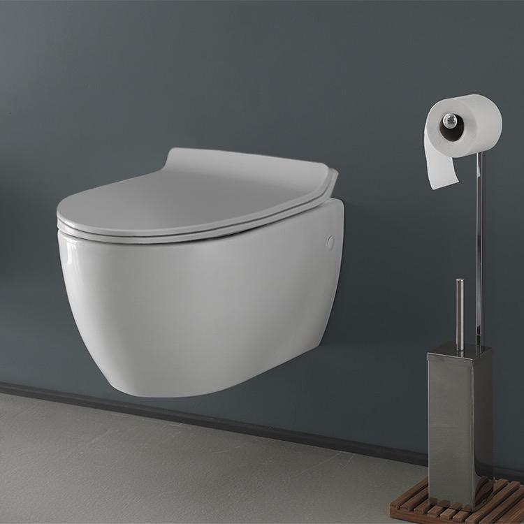 Kitchen & Bath Fixtures White Cerastyle 018700 City Ceramic Wall Mount Toilet