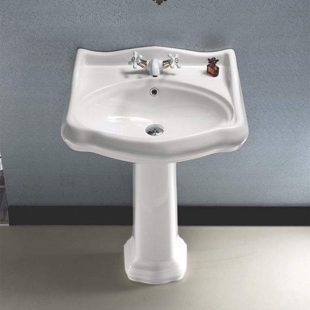 Bathroom Sink, CeraStyle 030200-PED-One Hole, Classic-Style White Ceramic Pedestal Sink