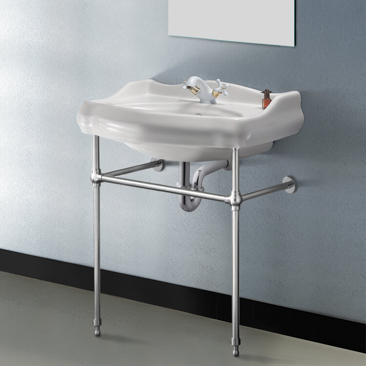 Bathroom Sink, CeraStyle 030200-CON-One Hole, Traditional Ceramic Console Sink With Chrome Stand
