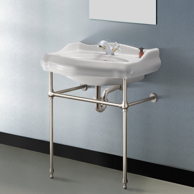 Bathroom Sink, CeraStyle 030200-CON-SN-One Hole, Traditional Ceramic Console Sink With Satin Nickel Stand