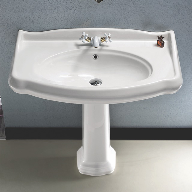Bathroom Sink, CeraStyle 030400-PED-One Hole, Classic-Style White Ceramic Pedestal Sink