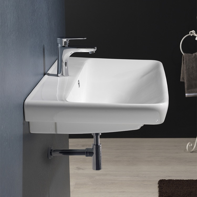 Bathroom Sink, CeraStyle 030600-U-One Hole, Rectangle White Ceramic Wall Mounted or Drop In Sink
