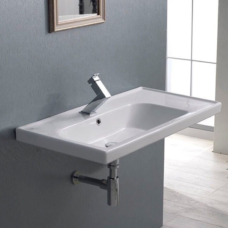 Bathroom Sink, CeraStyle 031100-U-One Hole, Rectangular Ceramic Wall Mounted or Drop In Sink With Counter Space