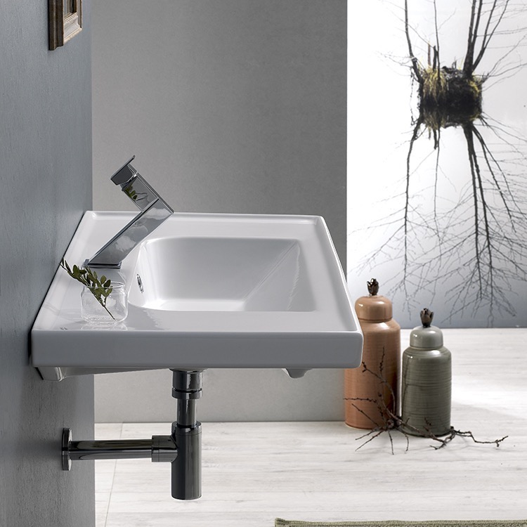 Bathroom Sink, CeraStyle 031200-U, Rectangle White Ceramic Wall Mounted or Self Rimming Sink