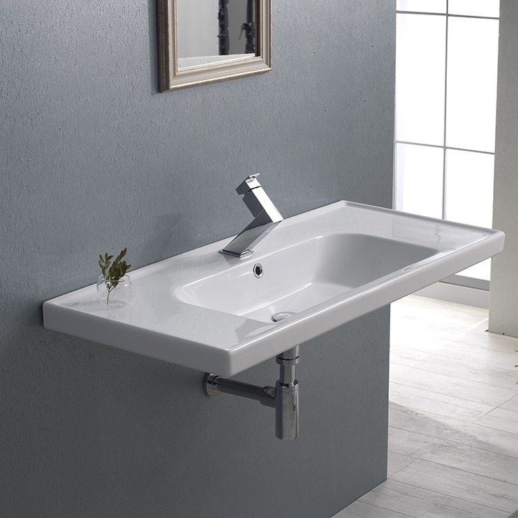 Bathroom Sink, CeraStyle 031400-U-One Hole, Rectangle White Ceramic Wall Mounted or Drop In Sink