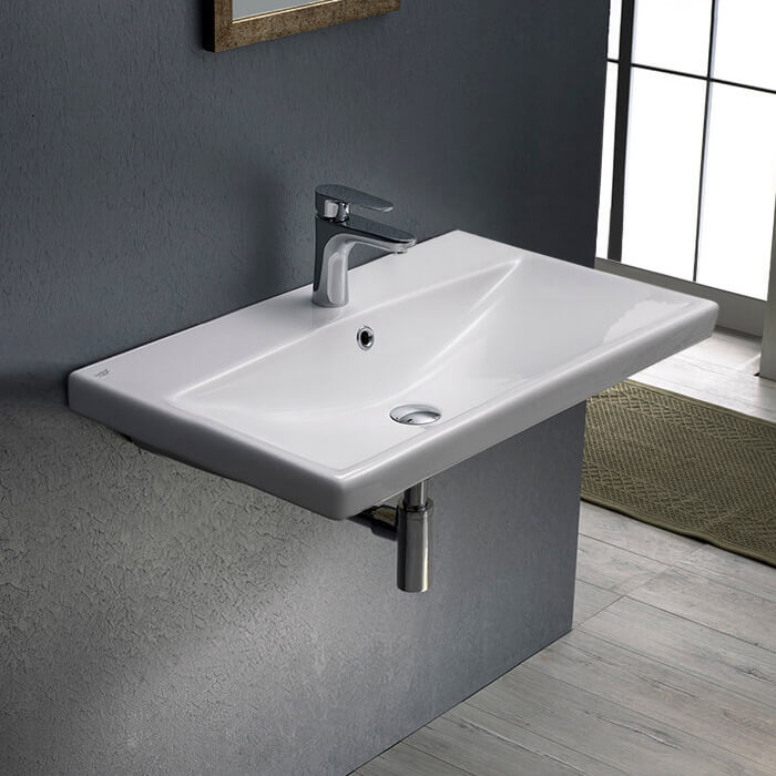 Bathroom Sink, CeraStyle 032000-U-One Hole, Rectangle White Ceramic Wall Mounted or Drop In Sink