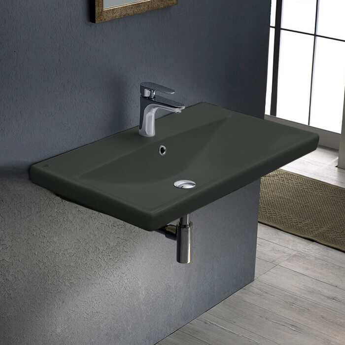 Bathroom Sink, CeraStyle 032009-U-97-One Hole, Rectangle Matte Black Ceramic Wall Mounted or Drop In Sink