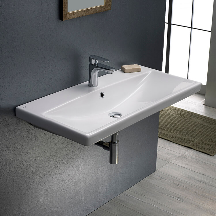 Bathroom Sink, CeraStyle 032100-U-One Hole, Rectangular White Ceramic Wall Mounted or Drop In Sink