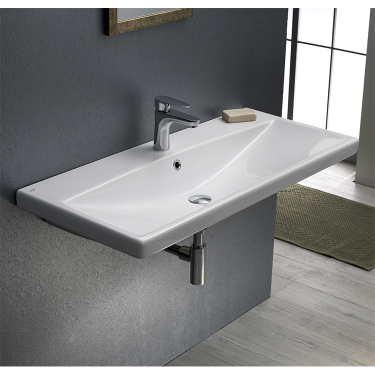 Bathroom Sink, CeraStyle 032400-U, Rectangle White Ceramic Wall Mounted or Self Rimming Sink