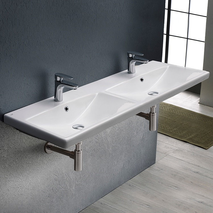 Bathroom Sink, CeraStyle 032500-U-Two Hole, Rectangular Double White Ceramic Wall Mounted or Drop In Sink