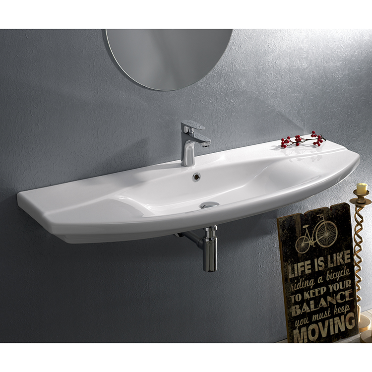 Bathroom Sink, CeraStyle 032700-U-One Hole, Rectangle White Ceramic Wall Mounted or Drop In Sink