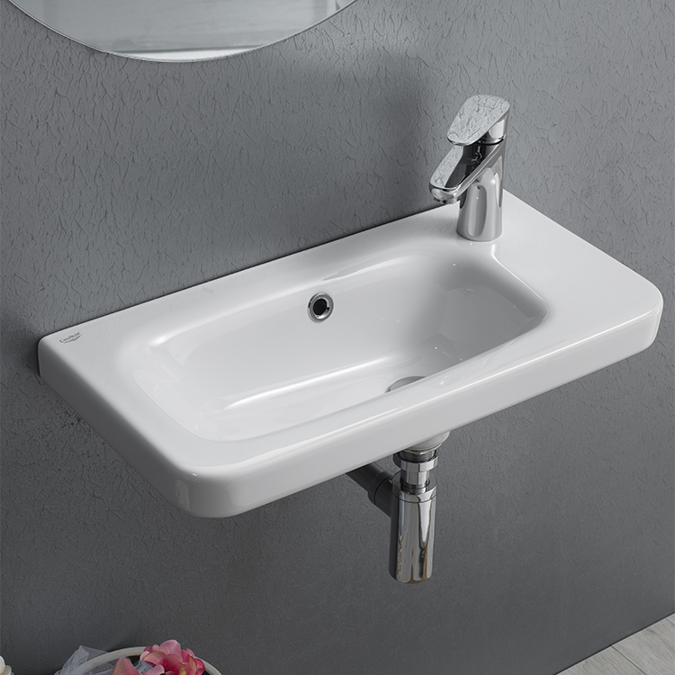 Bathroom Sink, CeraStyle 033000-U-One Hole, Rectangular White Ceramic Wall Mounted or Drop In Sink