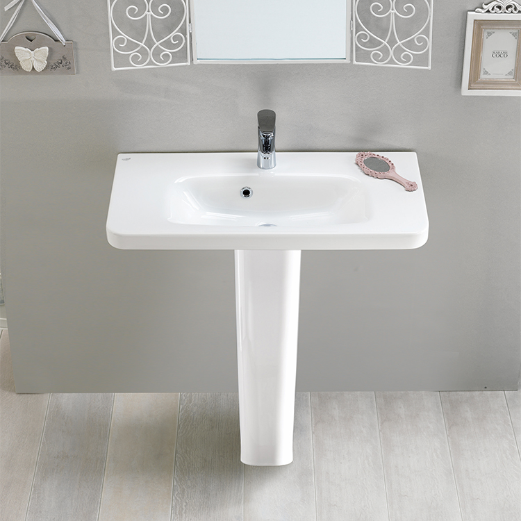 Bathroom Sink, CeraStyle 033300U PED, Rectangular White Ceramic Pedestal  Sink