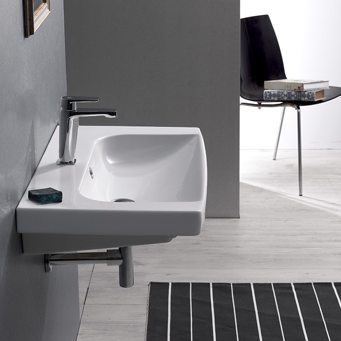 Bathroom Sink, CeraStyle 034100-U-One Hole, Rectangle White Ceramic Wall Mounted or Drop In Sink