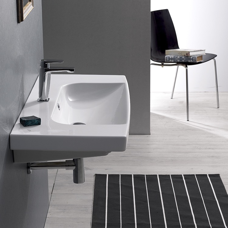 Bathroom Sink, CeraStyle 034400-U-One Hole, Rectangle White Ceramic Wall Mounted or Drop In Sink