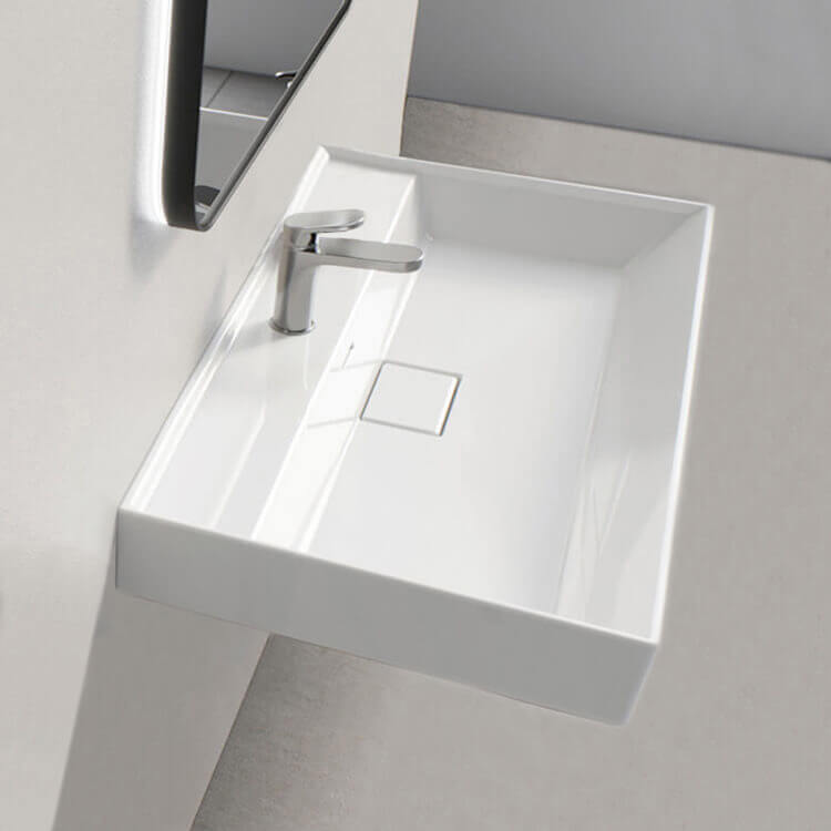Bathroom Sink, CeraStyle 037100-U-One Hole, Rectangular White Ceramic Wall Mounted or Drop In Sink