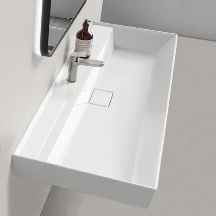 Bathroom Sink, CeraStyle 037500-U-One Hole, Rectangular White Ceramic Wall Mounted or Drop In Sink