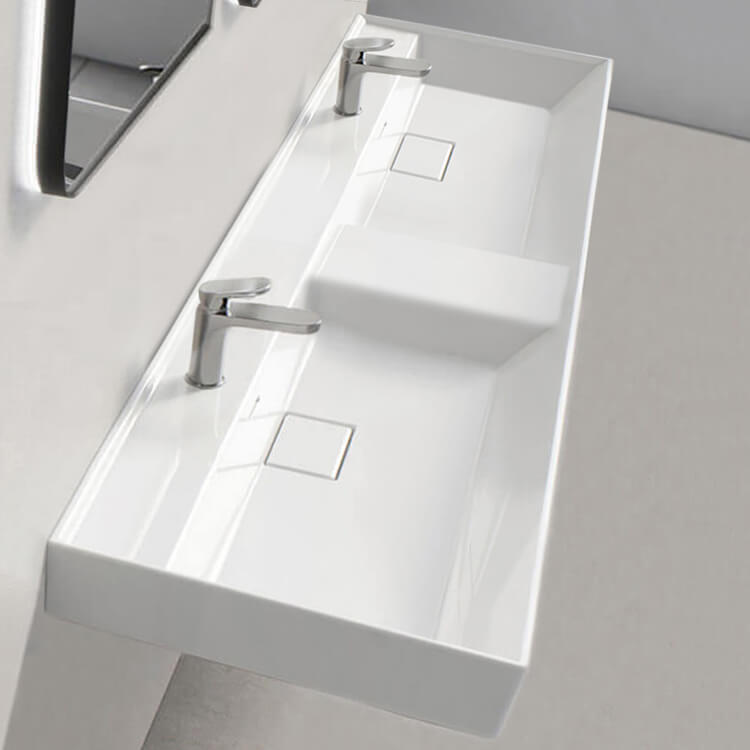 Bathroom Sink, CeraStyle 037700-U-Two Hole, Double Ceramic Wall Mounted or Drop In Sink