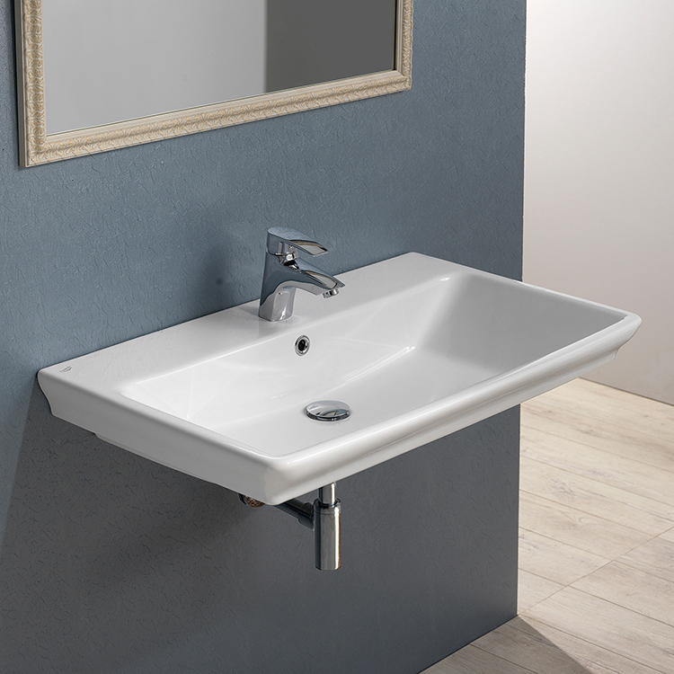 Bathroom Sink, CeraStyle 040100-U, Rectangle White Ceramic Wall Mounted or Self Rimming Sink