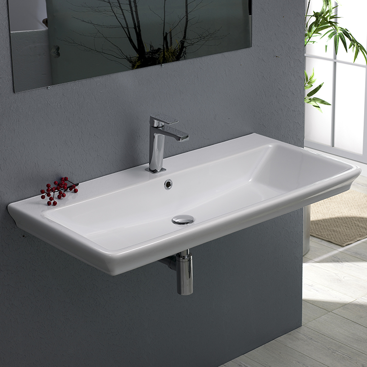 Bathroom Sink, CeraStyle 040300-U-One Hole, Rectangle White Ceramic Wall Mounted or Drop In Sink