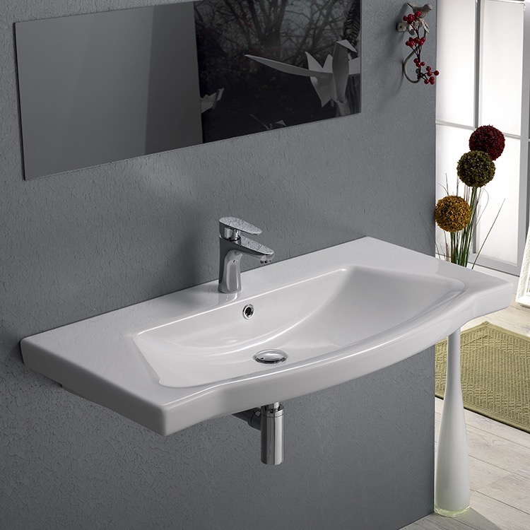 Bathroom Sink, CeraStyle 040500-U-One Hole, Rectangle White Ceramic Wall Mounted or Drop In Sink
