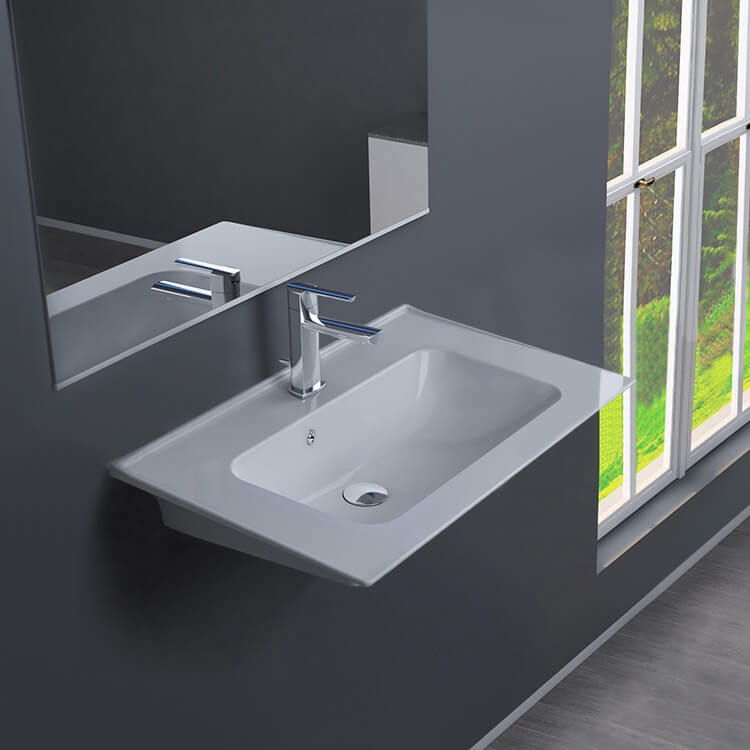 Bathroom Sink, CeraStyle 041900-U-One Hole, Rectangular White Ceramic Wall Mounted or Drop In Sink