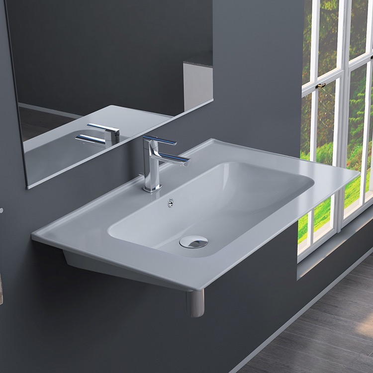 Bathroom Sink, CeraStyle 042000-U-One Hole, Rectangular White Ceramic Wall Mounted or Drop In Sink