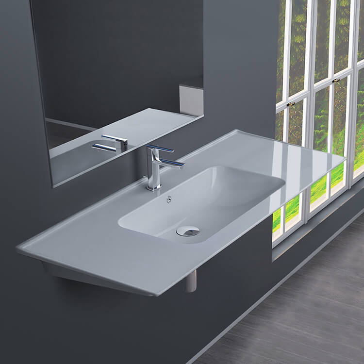 Bathroom Sink, CeraStyle 042500-U-One Hole, Rectangular White Ceramic Wall Mounted or Drop In Sink