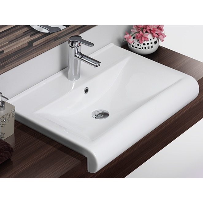 Rectangle White Ceramic Wall Mounted Or Semi Recessed Sink
