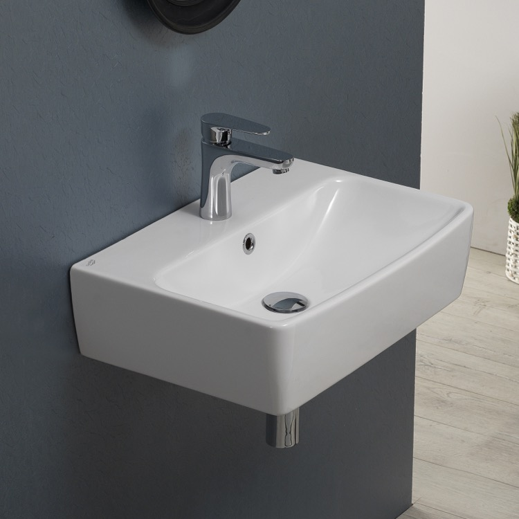 Bathroom Sink, CeraStyle 061600-U-One Hole, Square White Ceramic Wall Mounted or Vessel Bathroom Sink